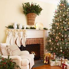 Think outside the norm and opt for a nontraditional Christmas wreath! http://www.bhg.com/christmas/holiday-ideas/?socsrc=bhgpin111714vasefilledwithgreenery&page=22