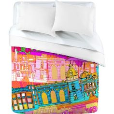 DENY Designs Aimee St Hill City Scape Duvet Cover, Queen by DENY Designs. $189.00. Manufacturing:  6 color dye process, custom printed for every order. Fabric:  Ultra soft, 100-Percent polyester microfiber. Metal snaps for closure. Color Top:  Full color Color Bottom:  White. Closure:  Metal snaps seen in snap closure view. Turn your basic, boring down comforter into the super stylish focal point of your bedroom with this DENY Designs duvet cover. Custom printed when you orde...