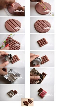 DIY polymer clay chocolate instructions from luz - diy best decoration Diy Fimo, Crea Fimo, Polymer Clay Kunst, Cute Polymer Clay, Cute Clay, Polymer Clay Miniatures, Fimo Clay, Polymer Clay Charms, Polymer Clay Projects