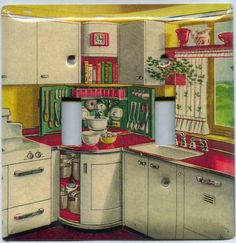 We looked at a house once with a similar kitchen--but the cabinets were blue, yellow, green, & orange! Layout was about the same, though.