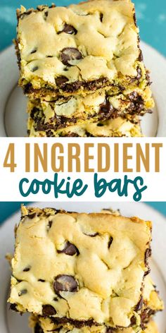Easy Cake Mix Cookie Bars made with just four ingredients: oil, eggs, cake mix, and chocolate chips. An easy cake mix dessert! Cake Mix Desserts, Cake Mix Cookie Recipes, Delicious Desserts, Cake Recipes, Dessert Recipes, Cookie Mixes, Easy Desserts, Sweet Recipes, Yummy Food