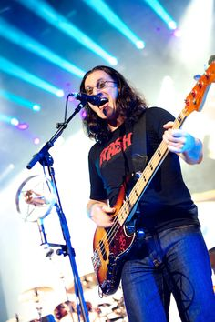 Geddy Lee of Rush (My ALL TIME FAVORITE BASS PLAYER ...along with Tommy Shannon, James Anderson and JoJo Garza!