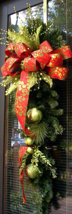 Christmas Teardrop Swag Pair Christmas Swag Door by LisasLaurels