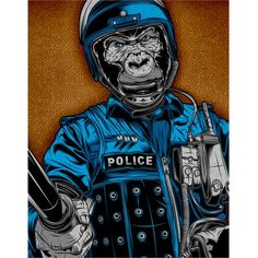 Gorilla Cop by Artist Palehorse Design Riot Police Artwork Art Print