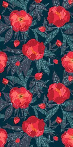 Floral Pattern Wallpaper, Flower Wallpaper, Fabric Wallpaper, Cute Backgrounds, Wallpaper Backgrounds, Iphone Wallpaper, Screen Wallpaper, Animes Wallpapers, Cute Wallpapers