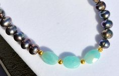 Beautiful Amazonite, Peacock Black Freshwater Pearl, Gold Vermeil Necklace, Handmade in England by MarciaWhiteUK, £125.00