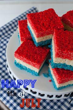 Happy Birthday America.   4th of July Rice Krispies Treats   Print   Patriotic Red White and Blue Rice Krispies treats. Perfect for 4th of July or any …