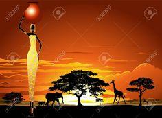 20282340-African-Woman-on-Bright-Savannah-Sunset-Stock-Vector-africa.jpg (1300×951)