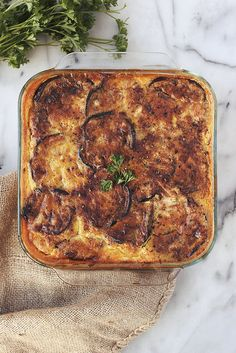 Lightened-Up Moussaka // Tasty Yummies // This classic Greek dish has been reimagined to be gluten-free and a whole lot lighter, the eggplant is grilled instead of fried and non-dairy milk is used in place of milk or cream. {Grain-free, Paleo-friendly w/ Dairy-free and Vegetarian Options}