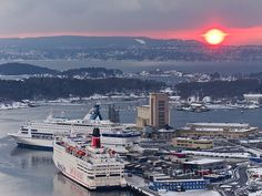 Red Sunset over Oslo harbour, Winter, Norway