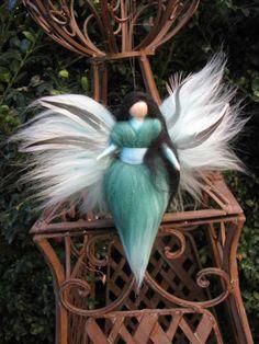 Small needle Felted guardian angel Waldorf by LivelySheep on Etsy Garden Ornaments, Felt Ornaments, Water Fairy, Felt Fairy, Wool Felt, Felted Wool, Fairy Doors, Felt Dolls, Needle Felting