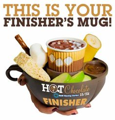 When you cross the finish line at the Hot Chocolate 15k or 5k race you get a finisher's mug with hot chocolate, fondue, & dippables! Use coupon code ITZLINZHAT