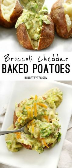 Broccoli Cheddar Baked Potatoes are an easy vegetarian dinner that uses simple ingredients to make a filling and flavorful meal. BudgetBytes.com