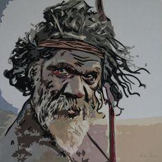 Man from Australia, 60 x 60 cm,  Art quilt made by Dorte Jensen, www.stofbilleder.dk Facebook: https://www.facebook.com/pages/Stofbilleder/298536300198776?bookmark_t=page