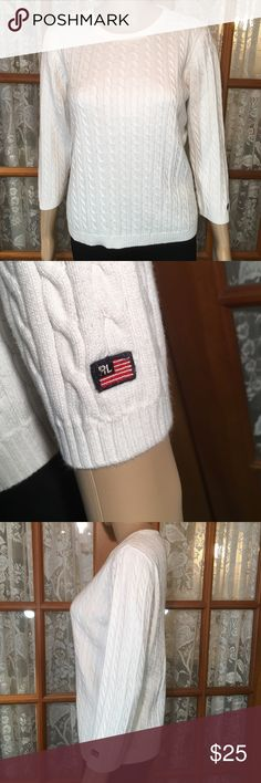 """Polo White Cable Knit Sweater XL 100% cotton. Bust is 38"""". Length is 22"""". Sleeves are 19"""". Excellent condition and comes from my non smoking home Polo by Ralph Lauren Sweaters Cardigans"""