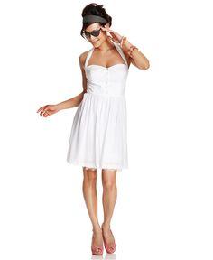 Betsey Johnson Dress, Sleeveless Lace Halter - Dresses - Women - Macy's