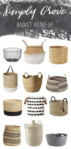 A modern basket round-up perfect for throw blankets via Simply Grove