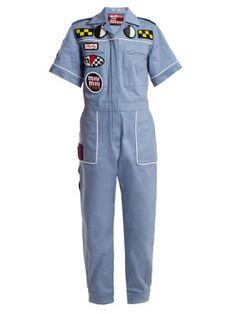 Click here to buy Miu Miu Badge-appliqué cotton-blend jumpsuit at MATCHESFASHION.COM