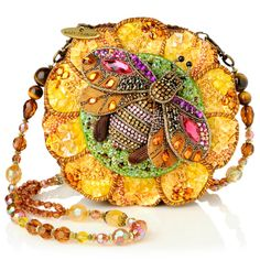 "Mary Frances Bead-Embellished ""Bee Happy"" Round Bag. round bag, franc beadembellish, handbag, evening bags, beadembellish bee, purs, bee happi, clutch, bumble bees"