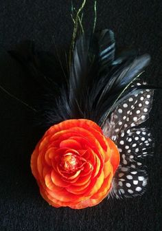Orange flowerfascinator orange and black guinea by msformaldehyde, $17.50