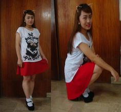 Red Skirts, Cheer Skirts, Lace Socks, Fashion Socks, Cat Shirts, Mary Janes, My Style