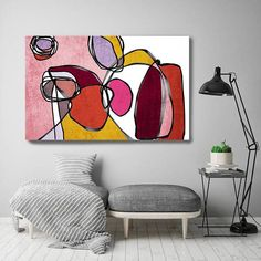 Vibrant Colorful Abstract-0-50. Mid-Century Modern Red Pink