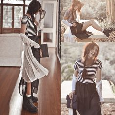 High Waste Double Layered Dress, Light Weight Pleated Cardigan, Black Thick Heeled Lace Up Boots, Navy Fabrix Folder/Ipad Case