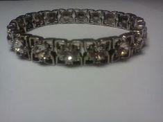 Victorian Marcasite & CZ  Silvertone Flowers Stretch Bracelet $11.99