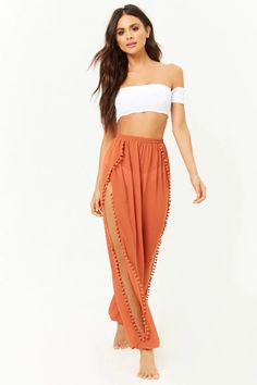 5c7e3f54c85f8 Product Name:Pom Pom Swim Cover-Up Pants, Category:CLEARANCE_ZERO, Price
