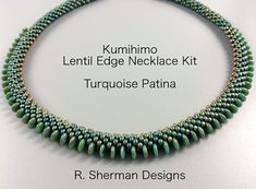Complete kit contains nearly everything you need to create the Kumihimo Lentil Edge necklace featuring 6mm lentils and 3mm magatamas on the edges.  Techniques used: 8 warp cord 2-drop Kongo Gumi (beaded round braid), counted pattern. Prior experience with Kumihimo braiding with beads is essential.  Kit includes: - Complete tutorial with bead loading pattern and finishing instructions - All required beads - 8/0 seed beads, 6mm lentils, and 3mm magatama beads (with extras to make a longer ...