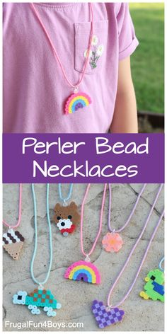 Perler Bead Ideas: Necklace Craft - Make your own Perler bead charms. Such a cute idea!