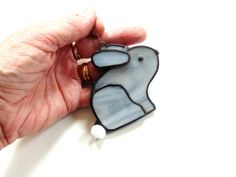 Stained glass bunny suncatcher ornament by DesignsStainedGlass