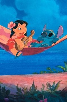 I chose this picture because Lilo and stitch is my favorite Disney movie. And Elvis Presley is someone that Lilo loves. So he's also included in the movie. Disney Pixar, Arte Disney, Disney And Dreamworks, Disney Magic, Disney Art, Lilo En Stitch, Lilo And Stitch Drawings, Lilo And Stitch Movie, Disney Duos