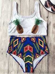 Swimwear Type: Bikini : Gender: For Women : Material: Chinlon/Spandex : Bra Style: Padded : Support Type: Wire Free : Neckline: Straps : Pattern Type: Argyle : Waist: High Waisted : Elasticity: Elastic : Weight: kg : Package Contents: 1 x Bra 1 x Briefs: Pineapple Bathing Suit, Bikini Bandeau, Tankini, Zaful Bikinis, Spandex, Bra Styles, Swimwear Fashion, Women Swimsuits, Bathing Suits