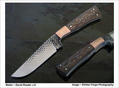 """Brut De Forge hunter.  5 1/4"""" blade, 10 3/8"""" O.A.L.  Kamani wood scales with sterling silver wire inlay. Copper bolsters and spacers."""