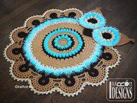 Crochet Pattern PDF for making a Multicolored Retro Owl Rug or Doily Rug Nursery Mat for Home Decor