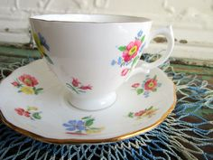 Vintage Teacup Tea Cup and Saucer Small Pink yellow Blue Flowers English Bone China