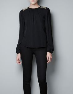 Zara TOP WITH APPLIQUÉ ON SHOULDERS - great basic top with a little bit of sparkle to get me through dreary January!