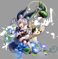 1girl animal_ears blade_&_soul cat character_request drill_hair flower green_eyes hosaki lyn_(blade_&_soul) morning_glory open_mouth paint_splatter paintbrush pointing tail teapot twin_drills wind_chime