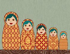 Red and Yellow Matryoshka Nesting Dolls Mixed Media Print http://society6.com/ElephantTrunkStudio/Red-and-Yellow-Matryoshka-Nesting-Dolls_Print