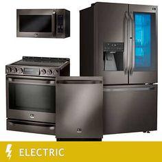 LG STUDIO 4-piece ELECTRIC 23.5CuFt Counter Depth with InstaView Refrigerator Kitchen Suite in Black Stainless Steel - LSFXC2496D, LSSE3029BD, LSMC3089BD, LSDF9969BD