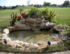 Garden ponds enrich your garden with a magical effect 47 diy garden pond waterfall ideas Waterfall Landscaping, Garden Waterfall, Pond Landscaping, Backyard Water Feature, Ponds Backyard, Garden Ponds, Diy Garden, Goldfish Pond, Pond Fountains