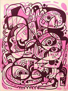 Jon Burgerman Art Designer Whole Lotta Love Through Design Character Illustration, Illustration Art, Illusion Art, Traditional Paintings, Art File, Silk Screen Printing, Illustrations, Cool Paintings, Doodle Art