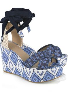 Theodora and Callum Lobiarritz printed linen wedge sandals