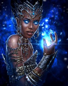 Warlock 2 concept art by Sergey Kondratovich on ArtStation. Black Love Art, Black Girl Art, My Black Is Beautiful, Black Girl Magic, Art Girl, African American Art, African Art, African Goddess, Black Art Pictures