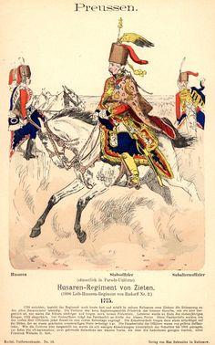 Preußen. Husaren-Regiment von Zieten. 1775, by Richard Knötel.