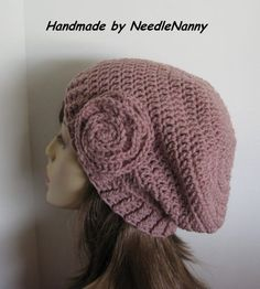 Crochet Hat Rosy Cheeks Color Hat with Flower Womens Accessories Teen Hats Cloche Beanie Hat Womens Clothing Slight Slouch Hat