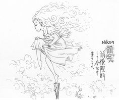 THE SEIJI Pen-and-ink drawing Nikon girl art drawing illustration