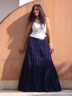 Boho Long Skirt ...Long Skirt ...Color Blue by Ablaa on Etsy, $50.00