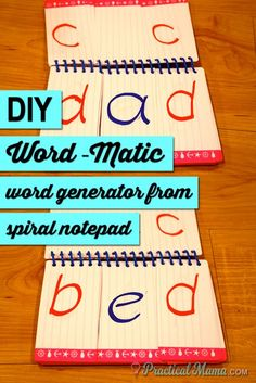 DIY Word-matic: Simple word speller for the new reader made out of a mini spiral notebook. Your budding spellers can create their own 3 letter words and practice sounding them. Kindergarten Reading, Kindergarten Activities, Teaching Reading, Fun Learning, Reading Resources, Reading Strategies, Reading Activities, Guided Reading, Teaching Ideas